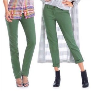CABI Coast Crop Boyfriend Pants in Cactus Green